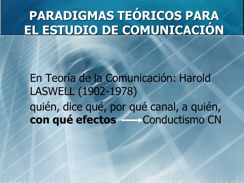 PARADIGMAS TEÓRICOS PARA EL ESTUDIO DE COMUNICACIÓN En Teoría de la Comunicación: Harold LASWELL (1902-1978) quién, dice qué, por qué canal, a quién,