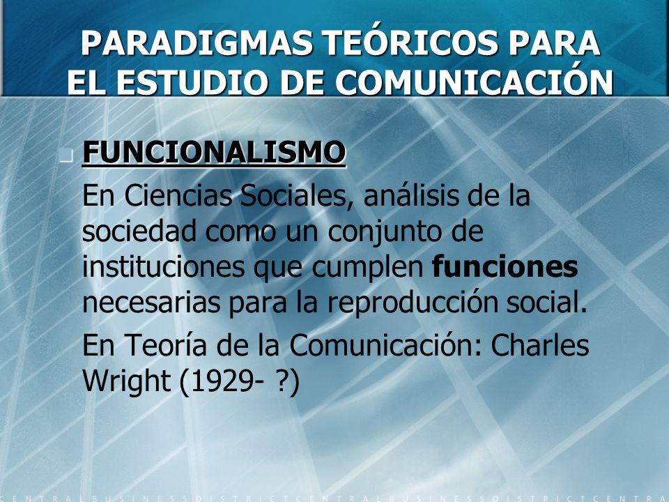 PARADIGMAS TEÓRICOS PARA EL ESTUDIO DE COMUNICACIÓN FUNCIONALISMO FUNCIONALISMO En Ciencias Sociales, análisis de la sociedad como un conjunto de instituciones que cumplen funciones necesarias para la reproducción social.