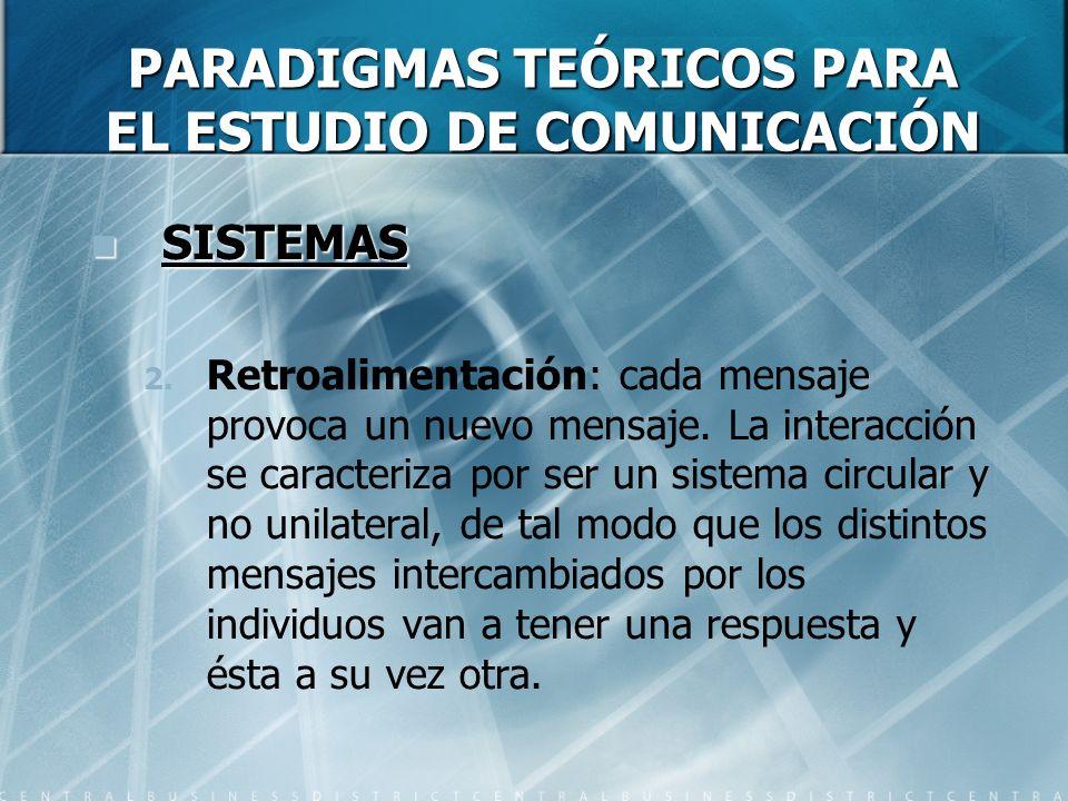 PARADIGMAS TEÓRICOS PARA EL ESTUDIO DE COMUNICACIÓN SISTEMAS SISTEMAS 2. Retroalimentación: cada mensaje provoca un nuevo mensaje. La interacción se c
