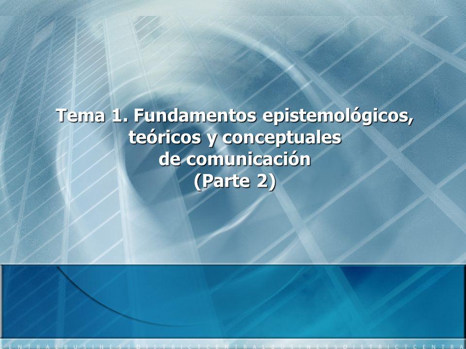 Tema 1. Fundamentos epistemológicos, teóricos y conceptuales de comunicación (Parte 2)