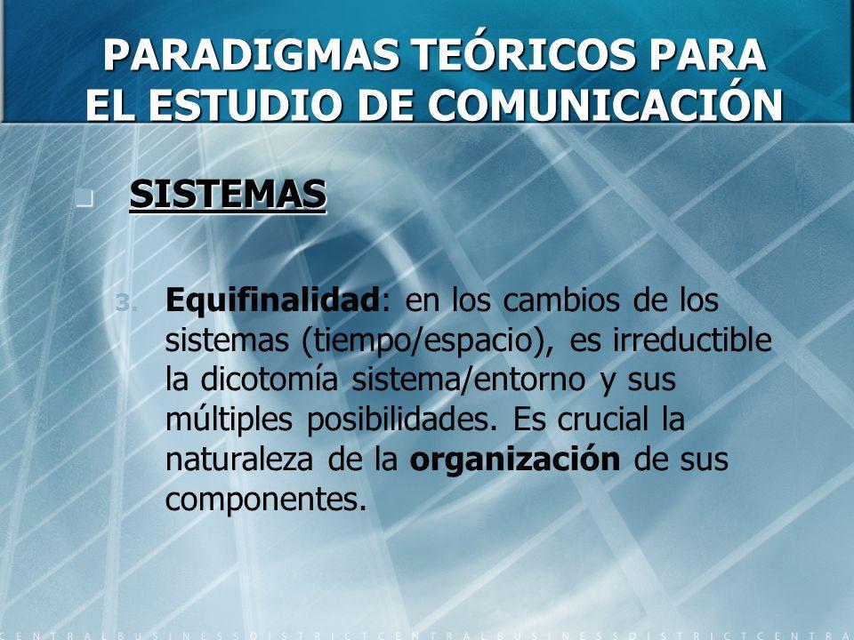 PARADIGMAS TEÓRICOS PARA EL ESTUDIO DE COMUNICACIÓN SISTEMAS SISTEMAS 3. Equifinalidad: en los cambios de los sistemas (tiempo/espacio), es irreductib