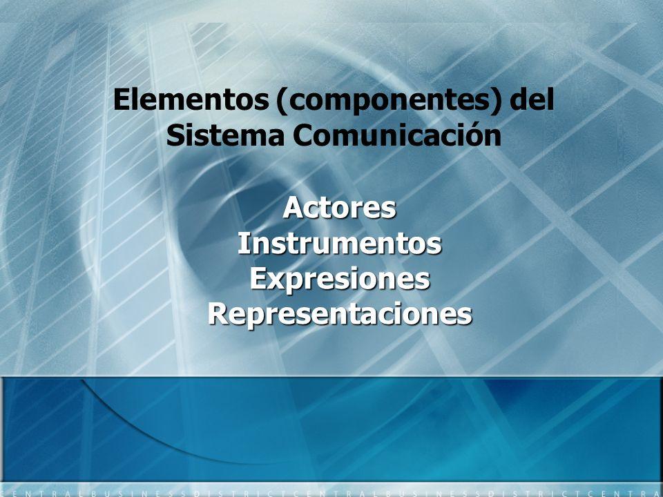 Elementos (componentes) del Sistema Comunicación Actores Instrumentos Expresiones Representaciones