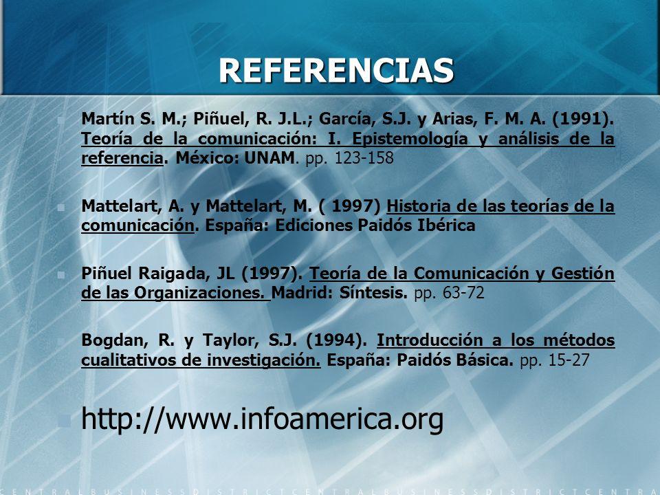REFERENCIAS Martín S. M.; Piñuel, R. J.L.; García, S.J. y Arias, F. M. A. (1991). Teoría de la comunicación: I. Epistemología y análisis de la referen