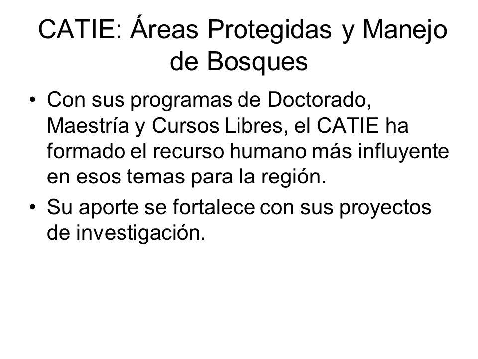 CATIE: Áreas Protegidas y Manejo de Bosques Con sus programas de Doctorado, Maestría y Cursos Libres, el CATIE ha formado el recurso humano más influyente en esos temas para la región.