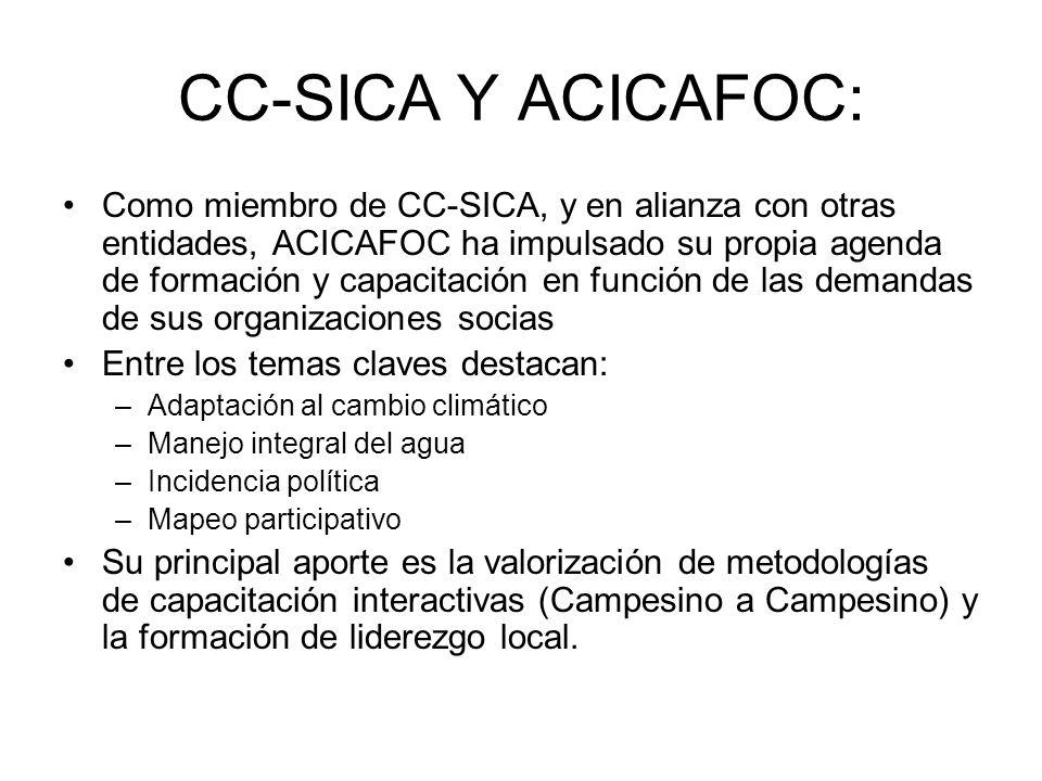 CC-SICA Y ACICAFOC: Como miembro de CC-SICA, y en alianza con otras entidades, ACICAFOC ha impulsado su propia agenda de formación y capacitación en función de las demandas de sus organizaciones socias Entre los temas claves destacan: –Adaptación al cambio climático –Manejo integral del agua –Incidencia política –Mapeo participativo Su principal aporte es la valorización de metodologías de capacitación interactivas (Campesino a Campesino) y la formación de liderezgo local.