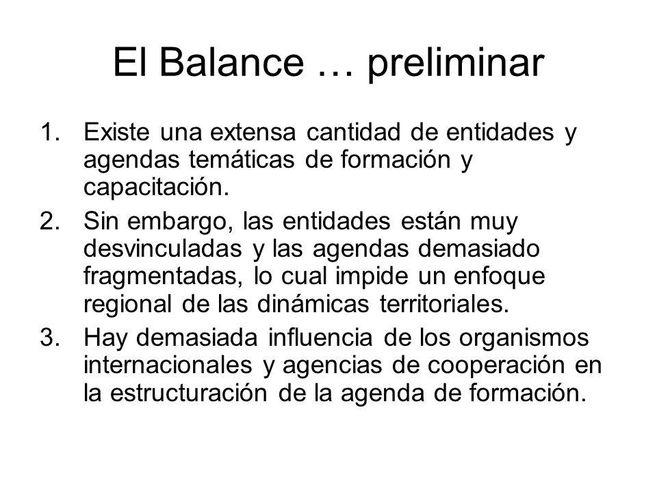 El Balance … preliminar 1.Existe una extensa cantidad de entidades y agendas temáticas de formación y capacitación.