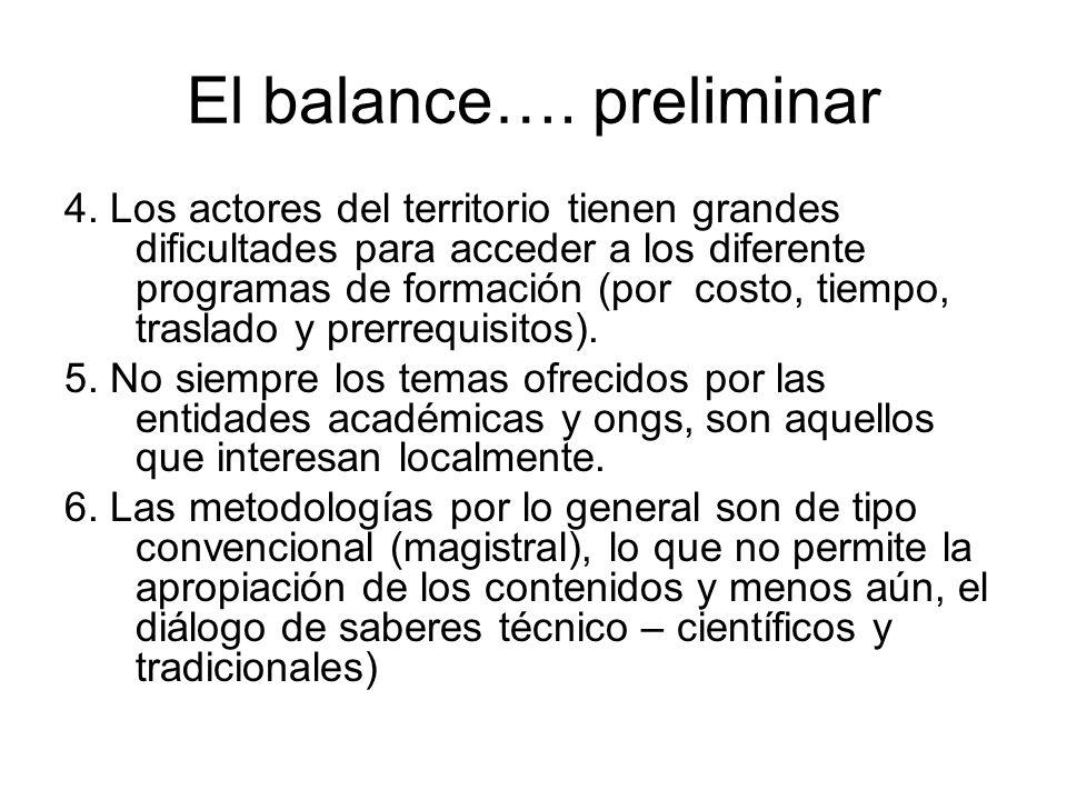 El balance…. preliminar 4.