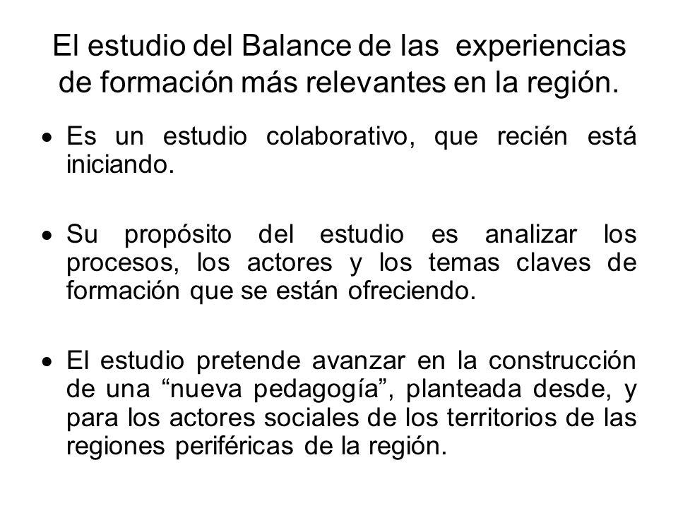 El estudio del Balance de las experiencias de formación más relevantes en la región.
