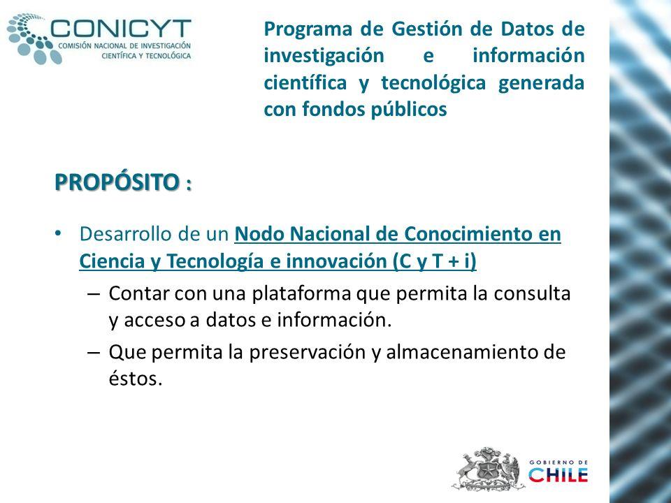 Desarrollo de un Nodo Nacional de Conocimiento en Ciencia y Tecnología e innovación (C y T + i) – Contar con una plataforma que permita la consulta y