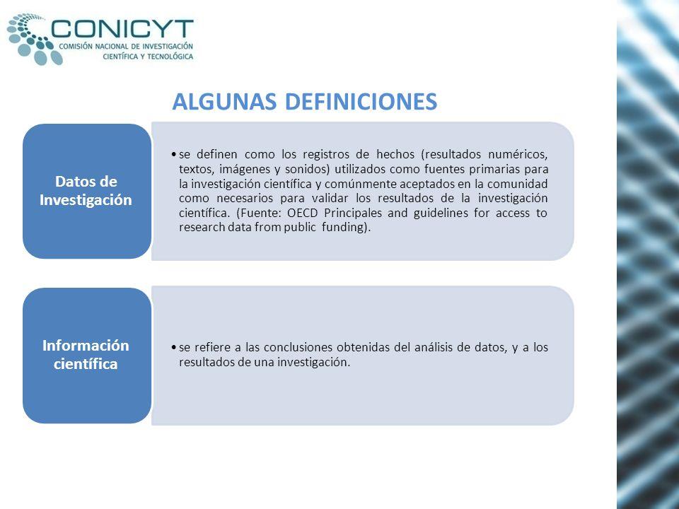 ALGUNAS DEFINICIONES se definen como los registros de hechos (resultados numéricos, textos, imágenes y sonidos) utilizados como fuentes primarias para