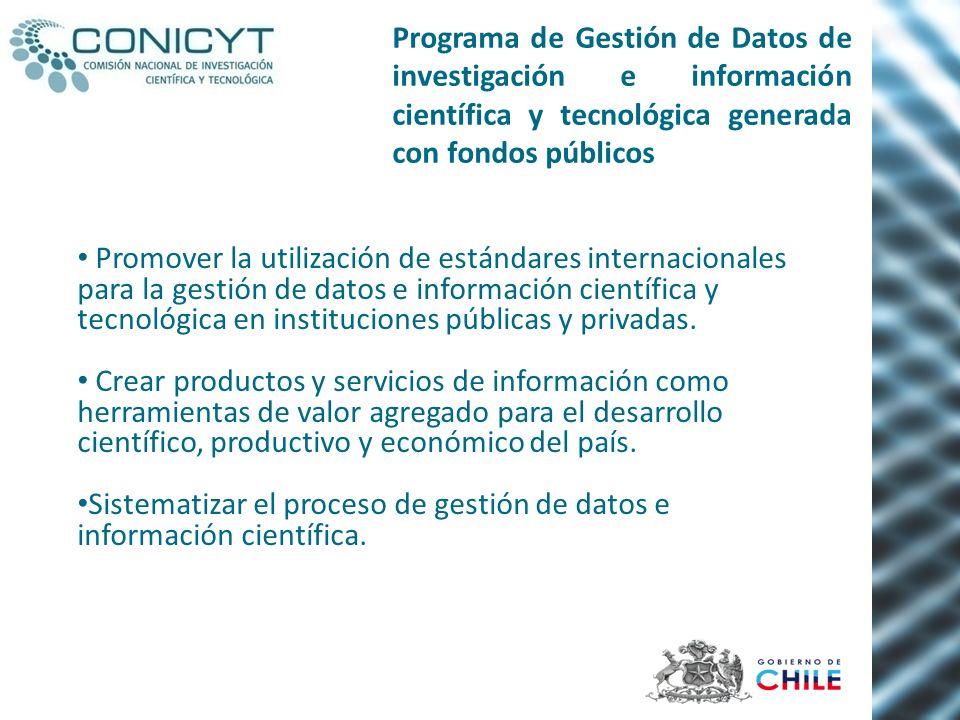 Promover la utilización de estándares internacionales para la gestión de datos e información científica y tecnológica en instituciones públicas y priv