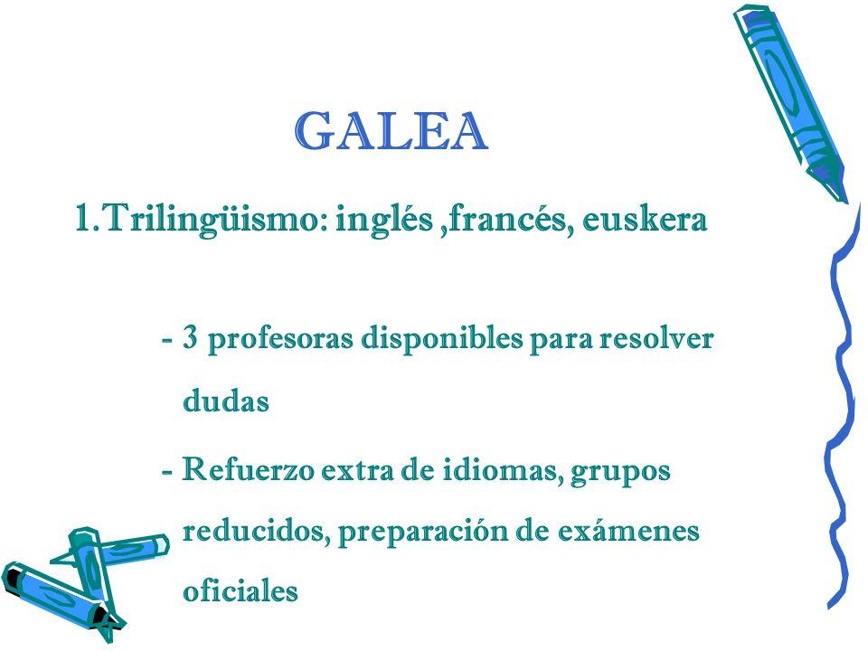 GALEA 1.Trilingüismo: inglés,francés, euskera - 3 profesoras disponibles para resolver dudas - Refuerzo extra de idiomas, grupos reducidos, preparació