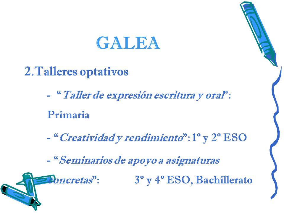 GALEA 2.Talleres optativos - Taller de expresión escritura y oral: Primaria - Creatividad y rendimiento: 1º y 2º ESO - Seminarios de apoyo a asignatur