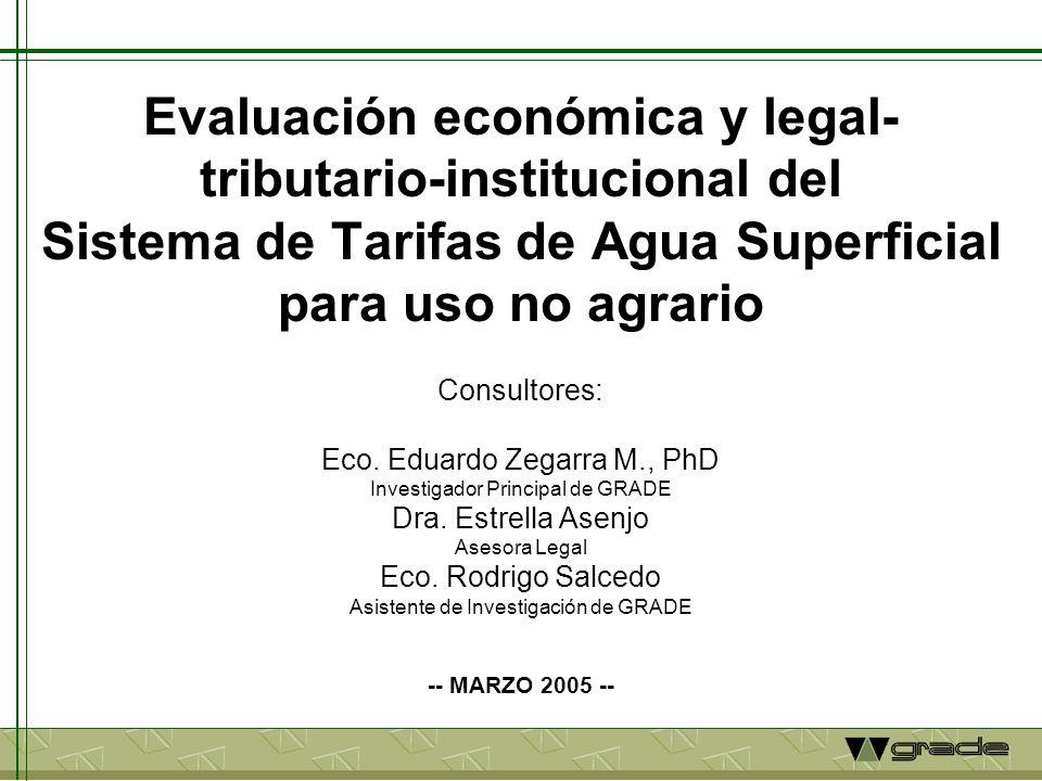 Antecedentes Preocupación en usuarios no agrarios no energéticos (minero, industrial, poblacional y piscícola) por desmesurado aumento en tarifas de agua superficial para uso no agrario (LA TARIFA) fijada por Intendencia de Recursos Hídricos (IRH) del INRENA en los últimos tres años (2002-2004); Aumentos se sustentan en Estudio realizado por el CIUP de Universidad del Pacífico para la IRH en el año 2001; El IDEM, en coordinación con la SNI, encargaron la evaluación del Estudio en términos económico, legal-tributario e institucional.