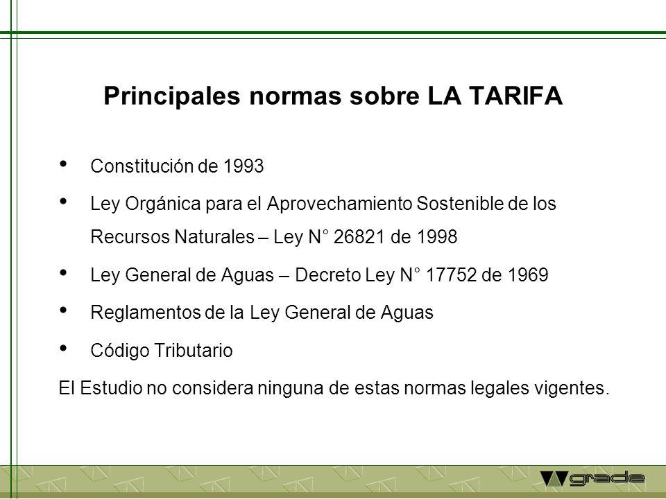 Principales normas sobre LA TARIFA Constitución de 1993 Ley Orgánica para el Aprovechamiento Sostenible de los Recursos Naturales – Ley N° 26821 de 19