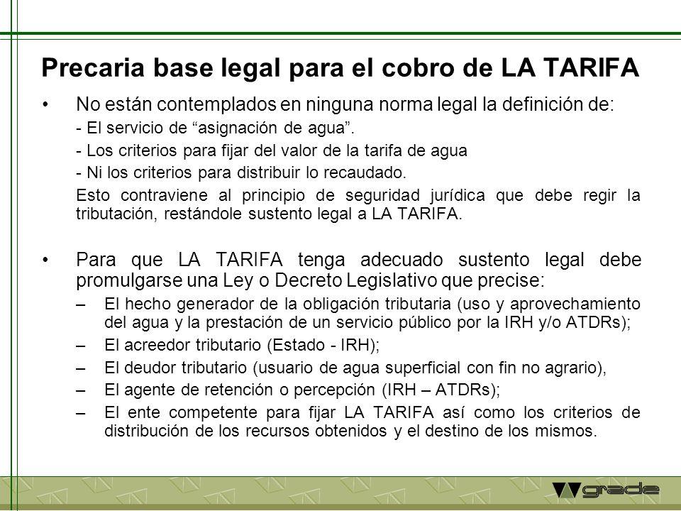Precaria base legal para el cobro de LA TARIFA No están contemplados en ninguna norma legal la definición de: - El servicio de asignación de agua. - L