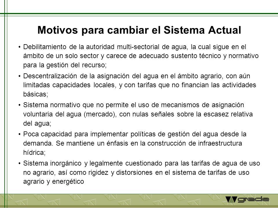 Motivos para cambiar el Sistema Actual Debilitamiento de la autoridad multi-sectorial de agua, la cual sigue en el ámbito de un solo sector y carece d