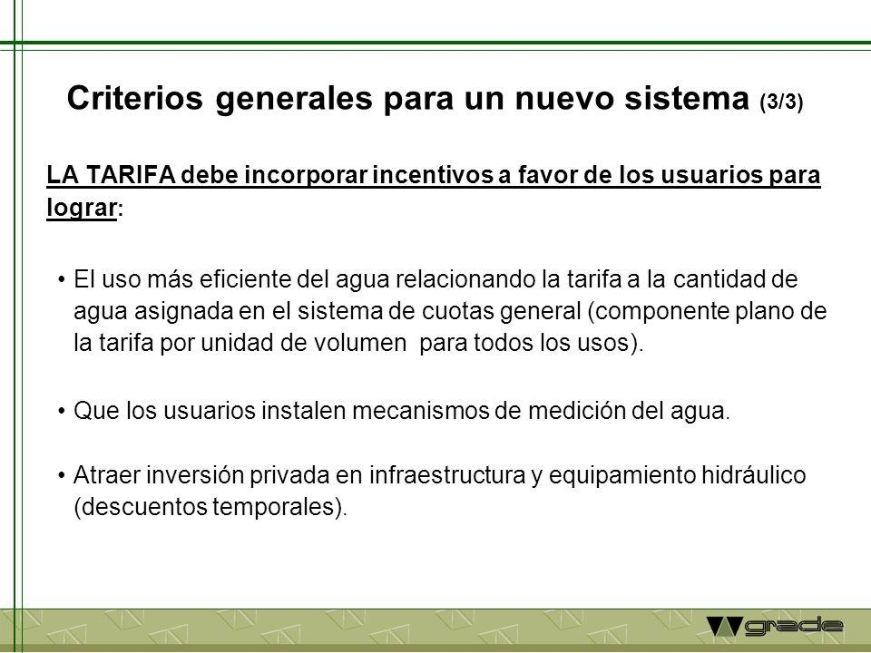 Criterios generales para un nuevo sistema (3/3) LA TARIFA debe incorporar incentivos a favor de los usuarios para lograr : El uso más eficiente del agua relacionando la tarifa a la cantidad de agua asignada en el sistema de cuotas general (componente plano de la tarifa por unidad de volumen para todos los usos).