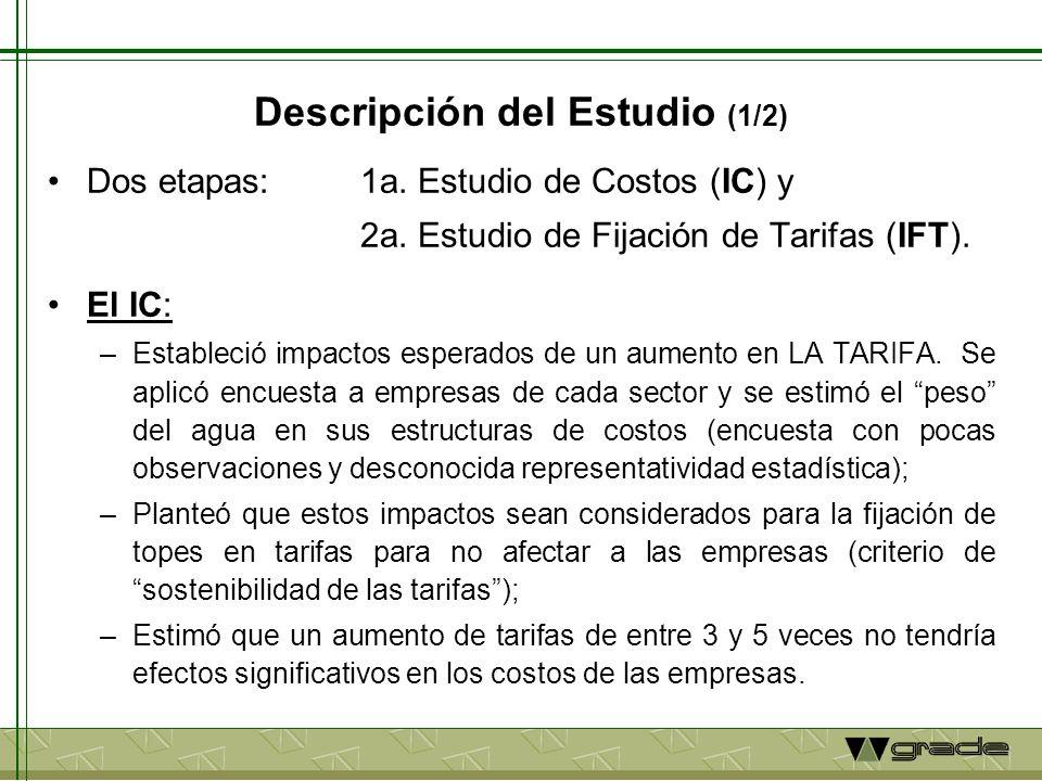 Descripción del Estudio (2/2) El IFT (en dos versiones: IFT1 e IFT2): –IFT1 estableció metodología para fijar LA TARIFA con 2 criterios: Distributivos (eficiencia, equidad y sostenibilidad).