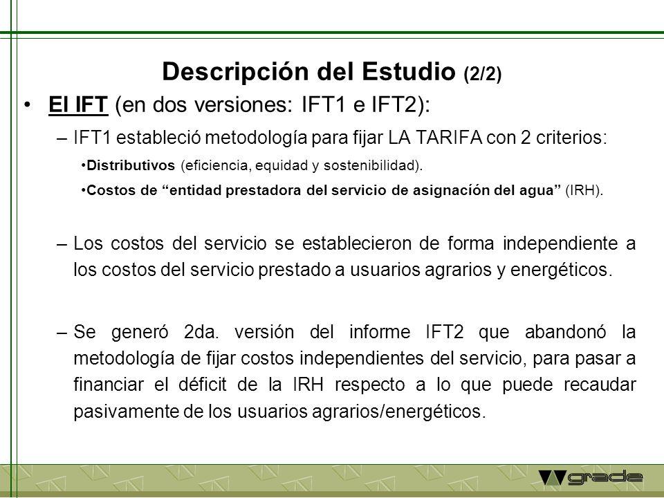 Descripción del Estudio (2/2) El IFT (en dos versiones: IFT1 e IFT2): –IFT1 estableció metodología para fijar LA TARIFA con 2 criterios: Distributivos
