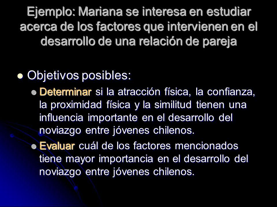 Ejemplo: Mariana se interesa en estudiar acerca de los factores que intervienen en el desarrollo de una relación de pareja Objetivos posibles: Objetiv