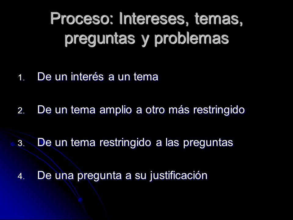 Proceso: Intereses, temas, preguntas y problemas 1. De un interés a un tema 2. De un tema amplio a otro más restringido 3. De un tema restringido a la