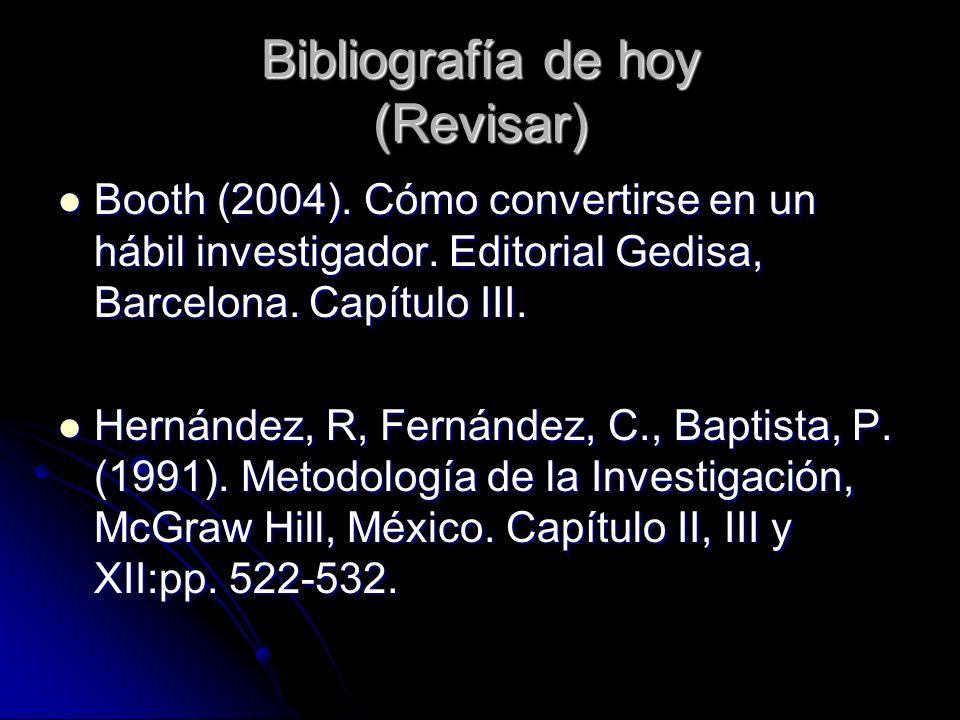 Bibliografía de hoy (Revisar) Booth (2004). Cómo convertirse en un hábil investigador. Editorial Gedisa, Barcelona. Capítulo III. Booth (2004). Cómo c