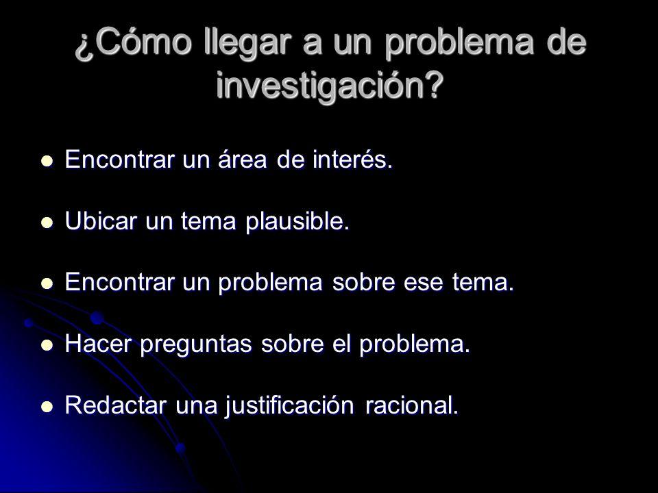 Reconocer un problema y plantearlo El problema más grande de una investigación es encontrar el problema a investigar.