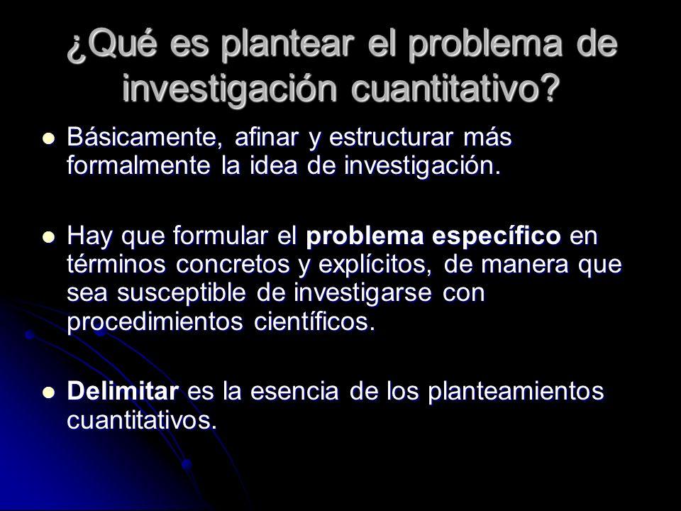 Criterios para plantear el problema (cuantitativo) El problema debe expresar una relación entre dos o más conceptos o variables.