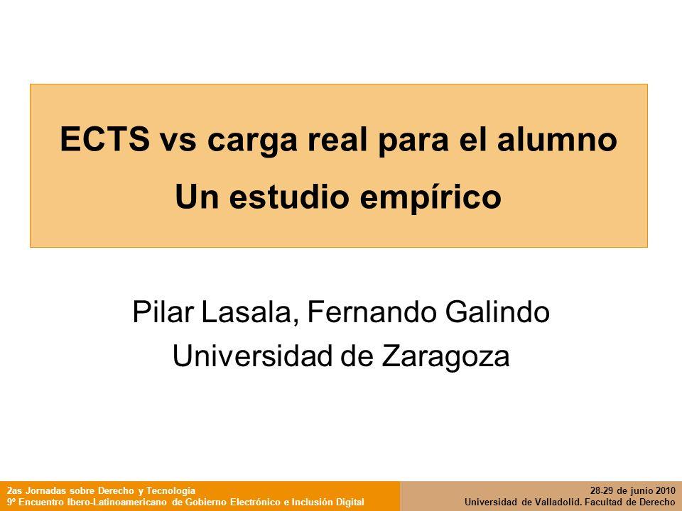 ECTS vs carga real para el alumno Un estudio empírico Pilar Lasala, Fernando Galindo Universidad de Zaragoza 2as Jornadas sobre Derecho y Tecnología 9