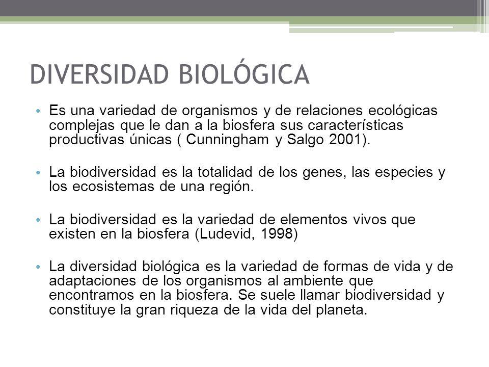 Es una variedad de organismos y de relaciones ecológicas complejas que le dan a la biosfera sus características productivas únicas ( Cunningham y Salg