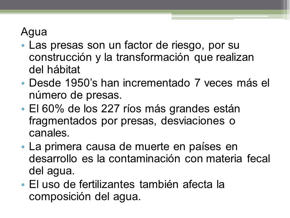 Agua Las presas son un factor de riesgo, por su construcción y la transformación que realizan del hábitat Desde 1950s han incrementado 7 veces más el