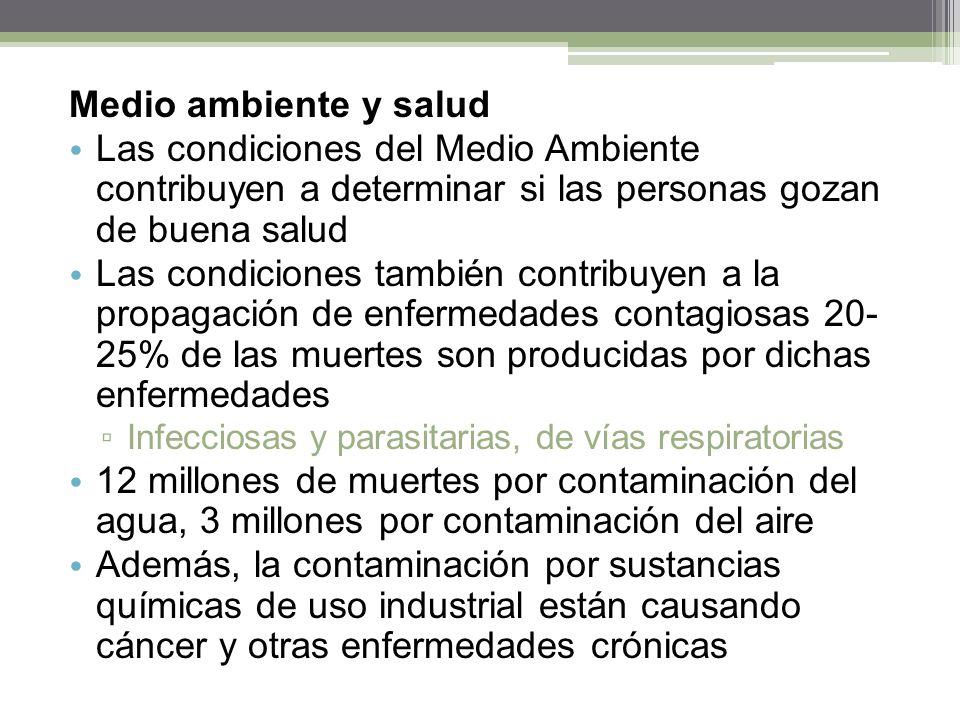 Medio ambiente y salud Las condiciones del Medio Ambiente contribuyen a determinar si las personas gozan de buena salud Las condiciones también contri