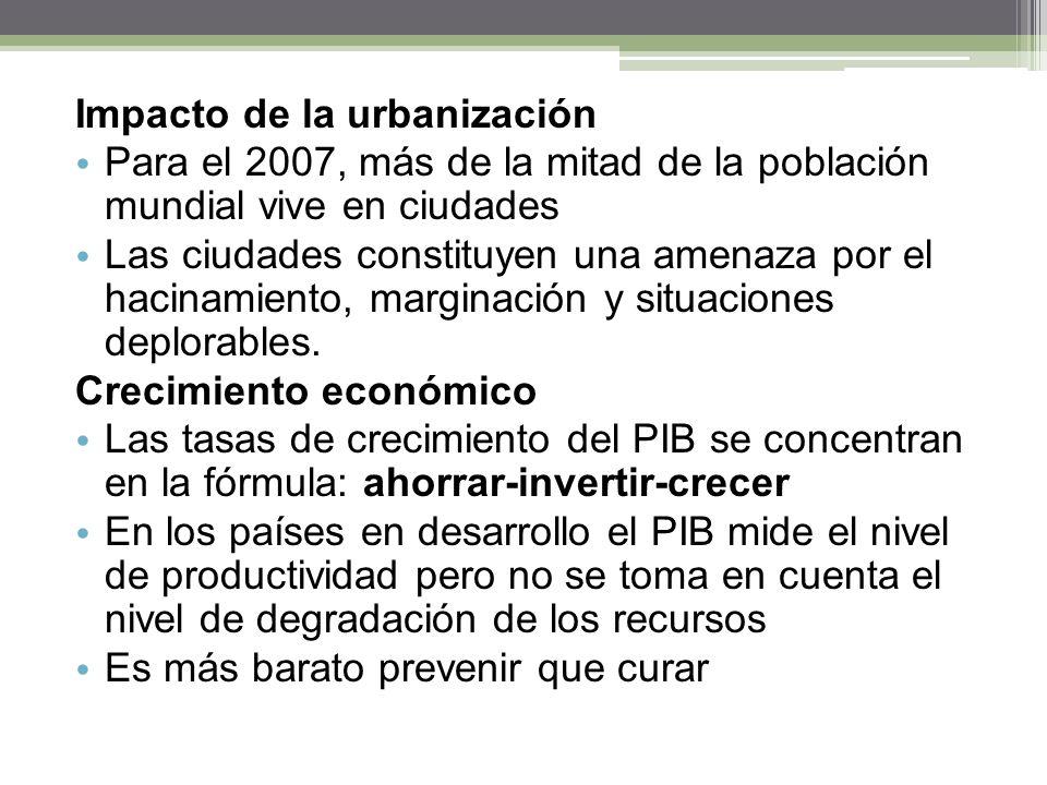 Impacto de la urbanización Para el 2007, más de la mitad de la población mundial vive en ciudades Las ciudades constituyen una amenaza por el hacinami