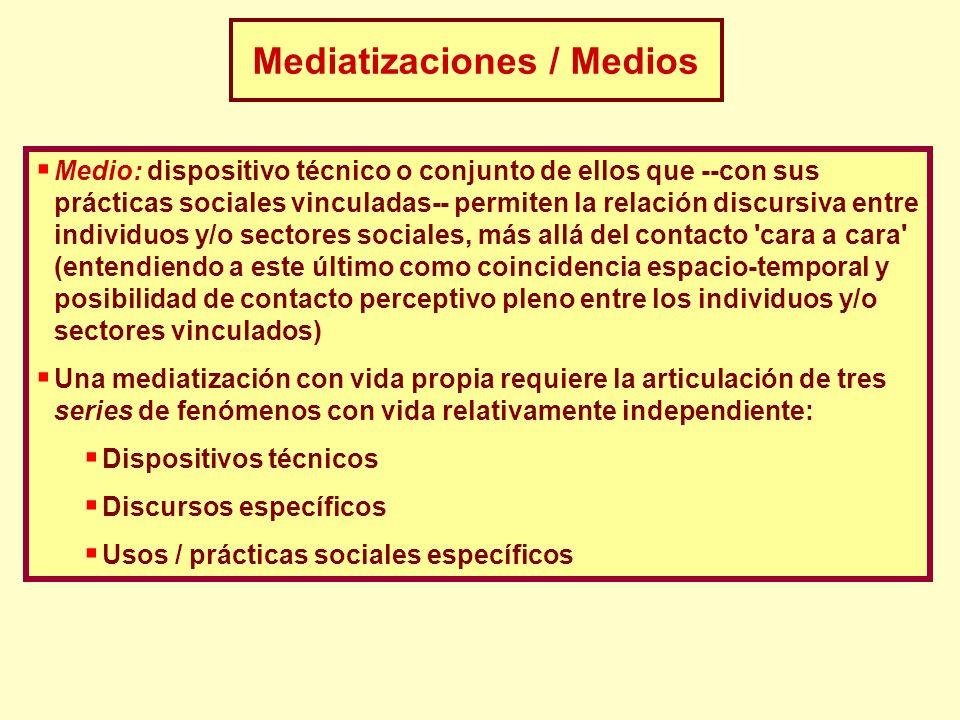 Medio: dispositivo técnico o conjunto de ellos que --con sus prácticas sociales vinculadas-- permiten la relación discursiva entre individuos y/o sect