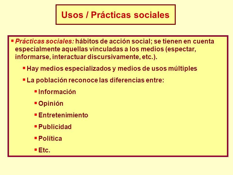 Prácticas sociales: hábitos de acción social; se tienen en cuenta especialmente aquellas vinculadas a los medios (espectar, informarse, interactuar di
