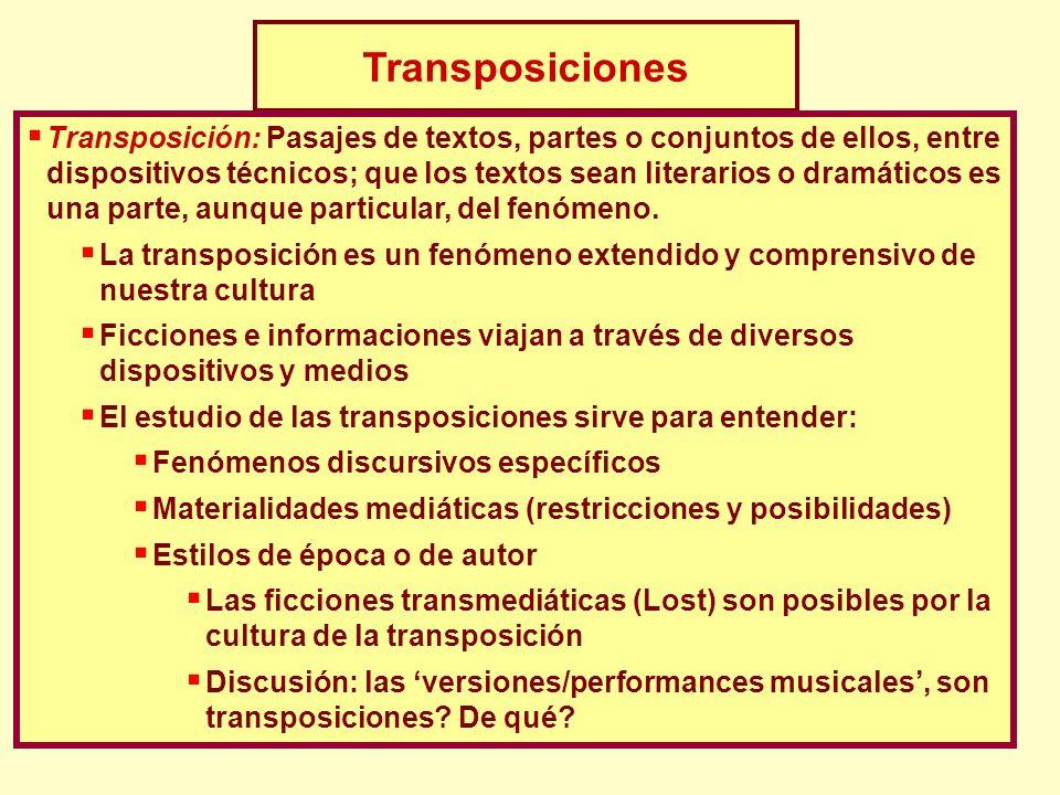 Transposiciones Transposición: Pasajes de textos, partes o conjuntos de ellos, entre dispositivos técnicos; que los textos sean literarios o dramático