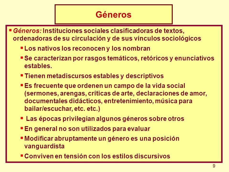 Géneros: Instituciones sociales clasificadoras de textos, ordenadoras de su circulación y de sus vínculos sociológicos Los nativos los reconocen y los