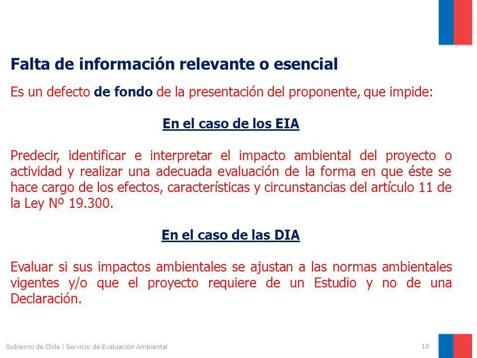 Gobierno de Chile | Servicio de Evaluación Ambiental 10 Falta de información relevante o esencial Es un defecto de fondo de la presentación del propon