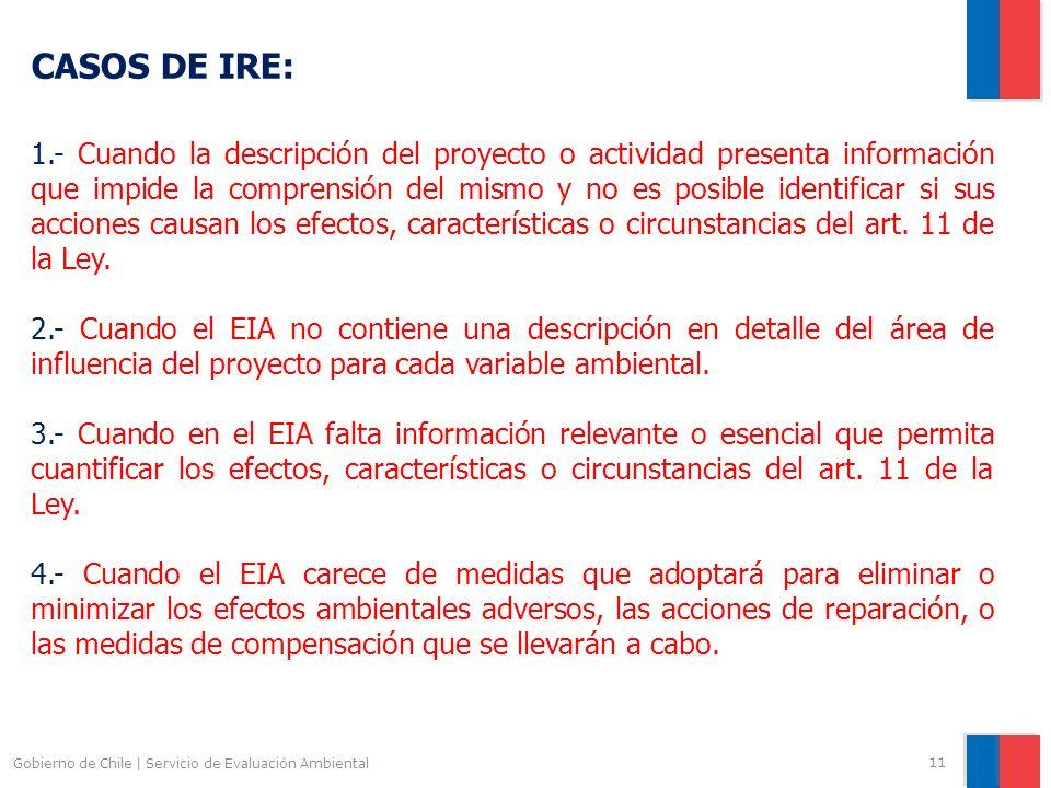 Gobierno de Chile | Servicio de Evaluación Ambiental 11 CASOS DE IRE: 1.- Cuando la descripción del proyecto o actividad presenta información que impi
