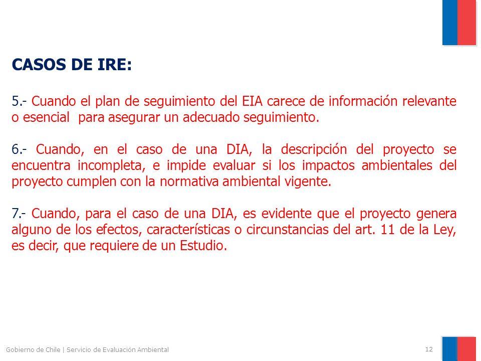 Gobierno de Chile | Servicio de Evaluación Ambiental 12 CASOS DE IRE: 5.- Cuando el plan de seguimiento del EIA carece de información relevante o esen