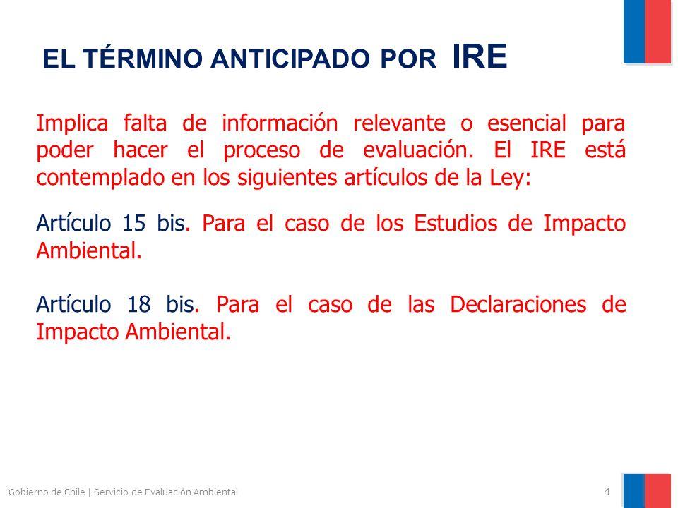 Gobierno de Chile | Servicio de Evaluación Ambiental 5 IRE EN LOS EIA.- Artículo 15 bis.