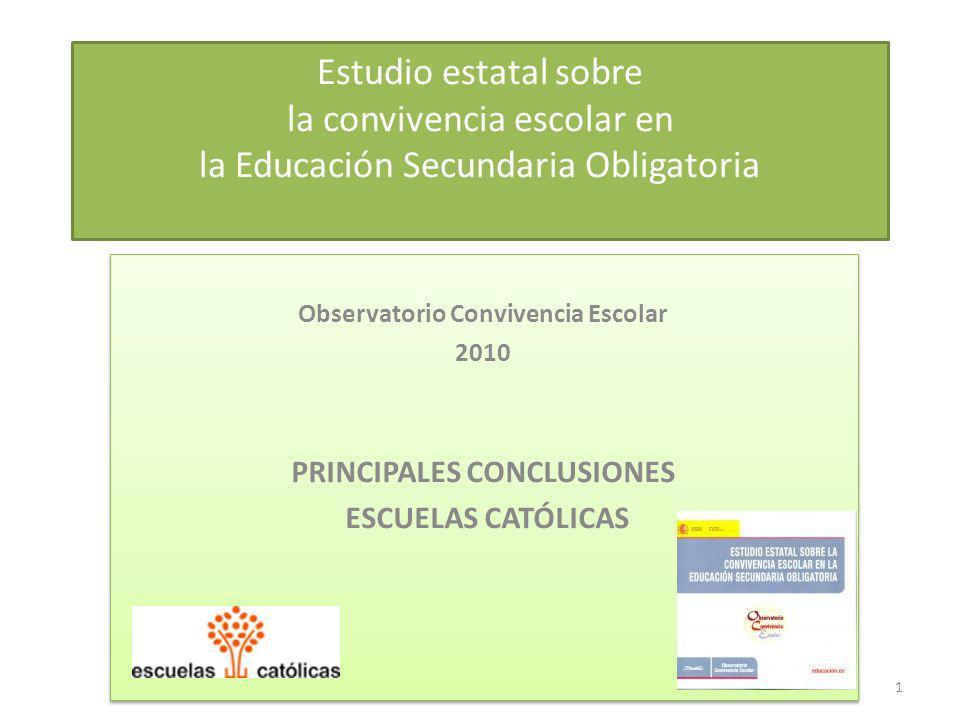 Estudio estatal sobre la convivencia escolar en la Educación Secundaria Obligatoria Observatorio Convivencia Escolar 2010 PRINCIPALES CONCLUSIONES ESC