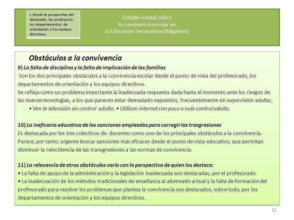 Obstáculos a la convivencia 9) La falta de disciplina y la falta de implicación de las familias Son los dos principales obstáculos a la convivencia es