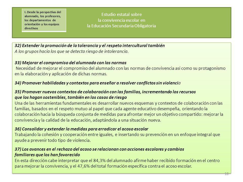32) Extender la promoción de la tolerancia y el respeto intercultural también A los grupos hacia los que se detecta riesgo de intolerancia. 33) Mejora
