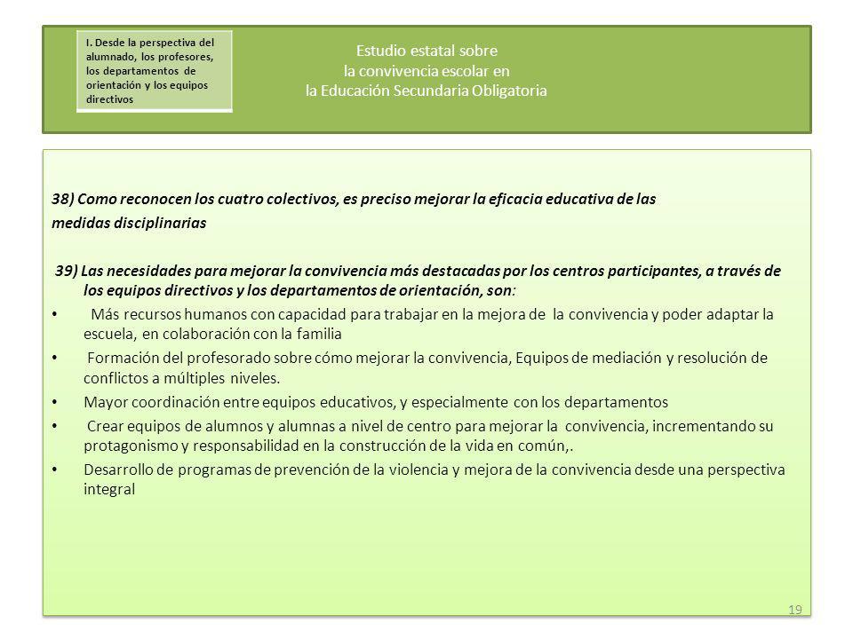 38) Como reconocen los cuatro colectivos, es preciso mejorar la eficacia educativa de las medidas disciplinarias 39) Las necesidades para mejorar la c