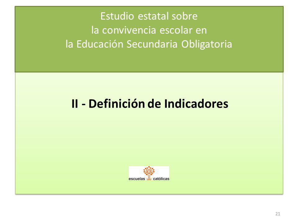 II - Definición de Indicadores Estudio estatal sobre la convivencia escolar en la Educación Secundaria Obligatoria 21