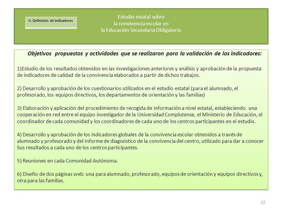 Objetivos propuestos y actividades que se realizaron para la validación de los indicadores: 1)Estudio de los resultados obtenidos en las investigacion