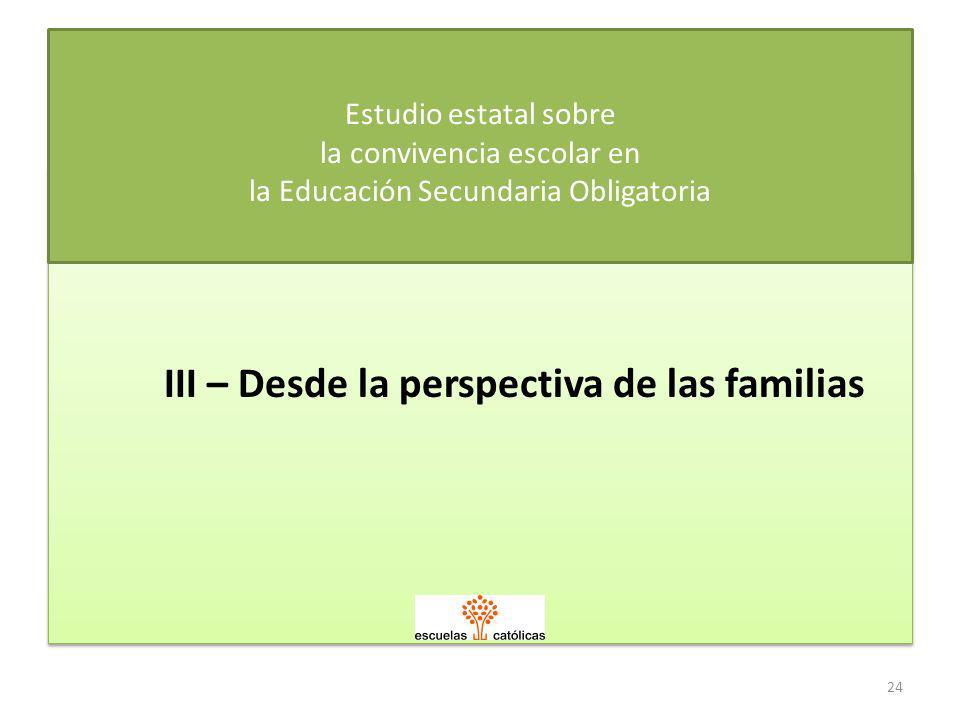 III – Desde la perspectiva de las familias Estudio estatal sobre la convivencia escolar en la Educación Secundaria Obligatoria 24