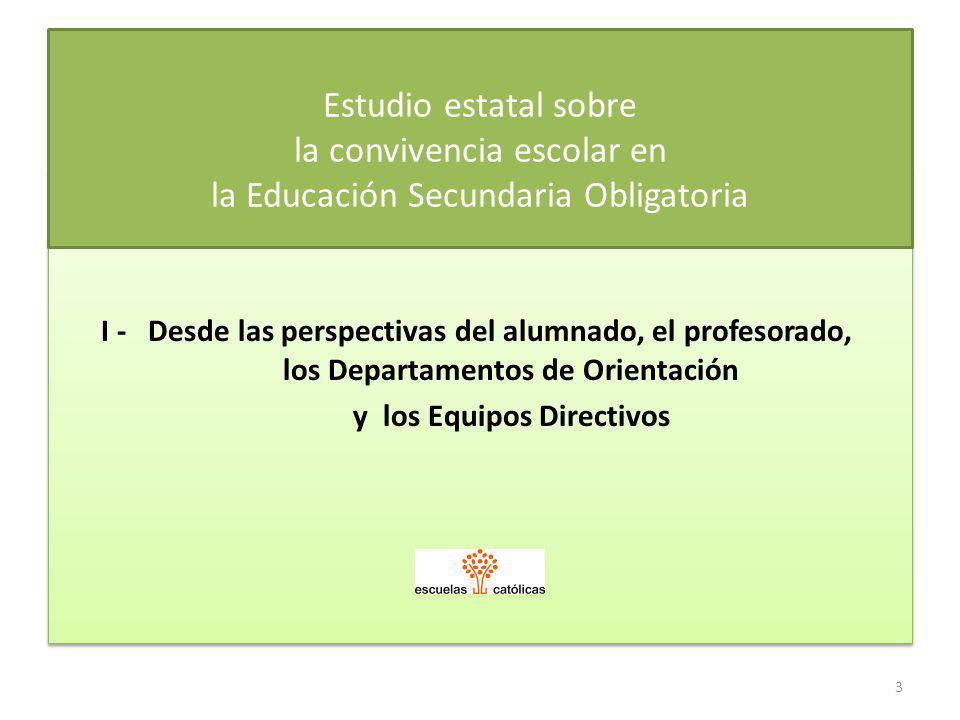 I - Desde las perspectivas del alumnado, el profesorado, los Departamentos de Orientación y los Equipos Directivos I - Desde las perspectivas del alum